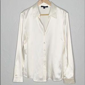 Lafayette 148 NY cream silk button down blouse 12